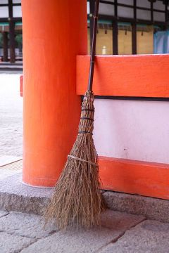 Broom at Shimogamo Shrine, Kyoto, Japan. Public Domain