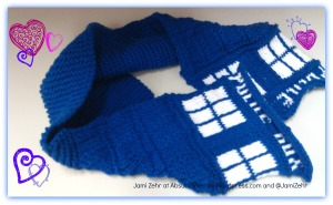 Sending lots of love (evidenced by the hearts) with my TARDIS scarf.