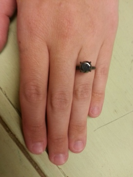 My black diamond, oxidized sterling silver engagement ring.