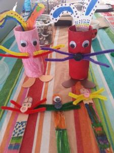 The stick bunnies are Popsicle sticks colored with markers and with attachments with hot glue