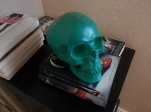 green skull piggy bank
