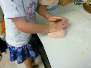 kneading play dough