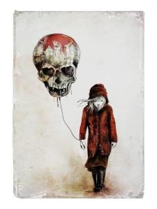 red skeleton balloon