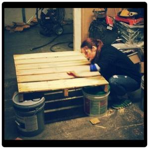 sanding the pallet